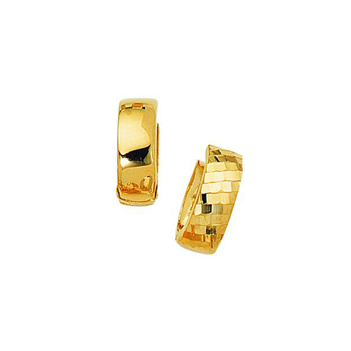 14K Yellow Gold (3.2 g) Polish Finished 15mm Checkered Snuggie Hoop Earrings w/ Hidden Snap Backs by SuperJeweler