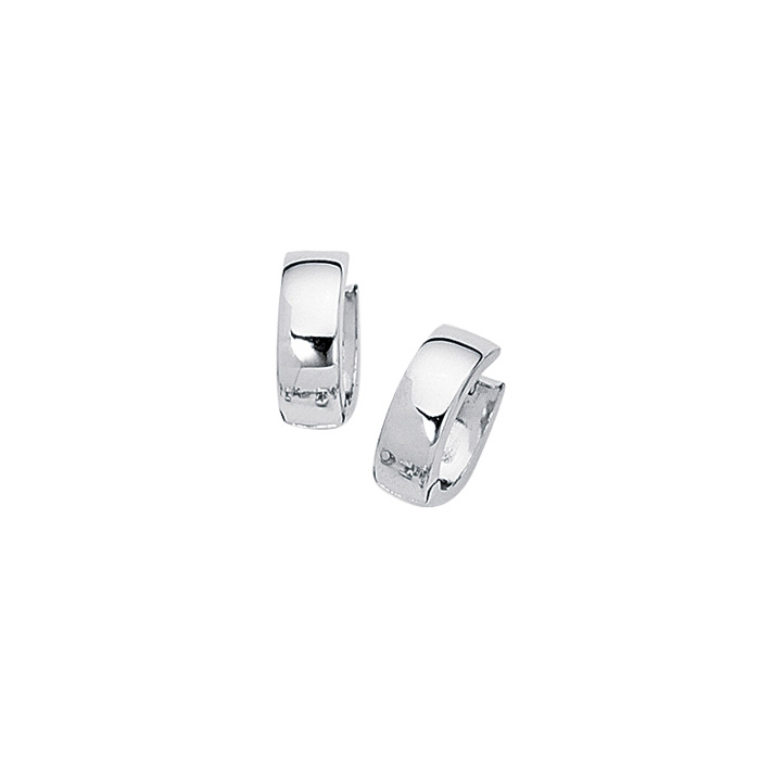 14K White Gold (3.2 g) Polish Finished 15mm Snuggie Hoop Earrings
