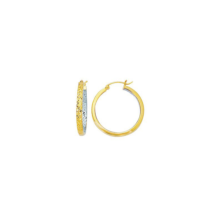 14K Yellow & White Gold (1.9 g) Polish Finished 25mm inside-out Hoop Earrings w/ Hinge w/ Notched Closure by SuperJeweler