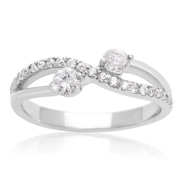3/8 Carat Two Stone Diamond Infinite Love Ring in 10K White Gold,