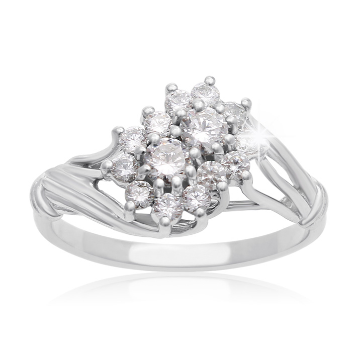 1/2 Carat Two Stone Diamond Floral Inspired Ring in White Gold,  by SuperJeweler