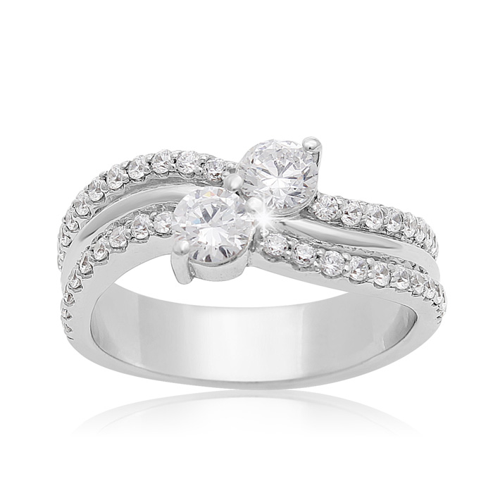 1 Carat Two Stone Diamond Arch Ring in 14K White Gold, I/J by Sup