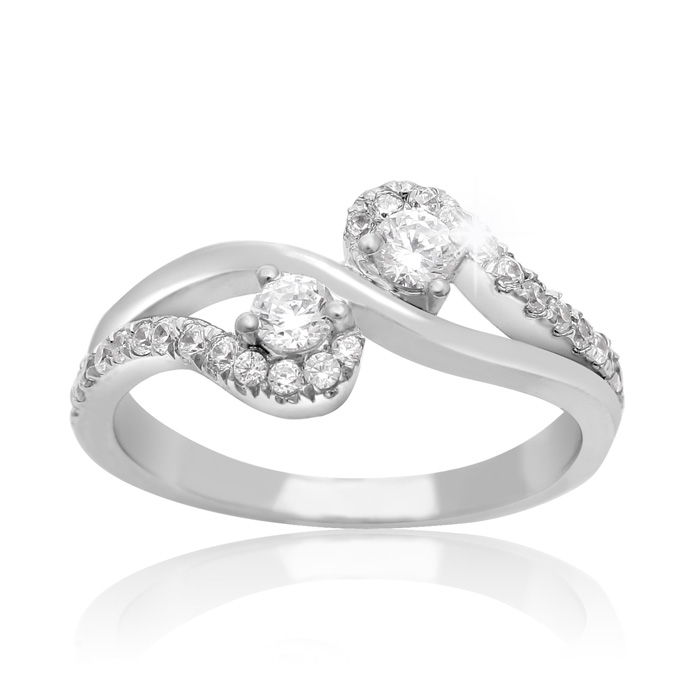 1/2 Carat Two Stone Diamond Graceful Ring in 10K White Gold, I/J by SuperJeweler