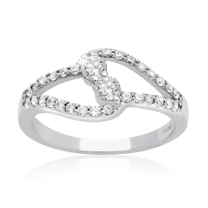 1/2 Carat Two Stone Diamond Intertwined Ring in 10K White Gold, I