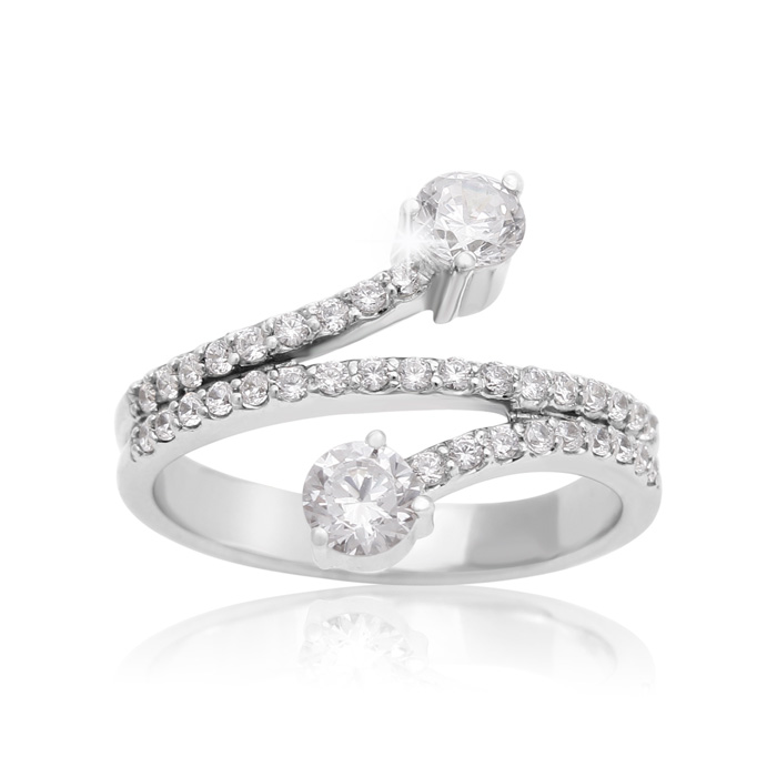 3/4 Carat Two Stone Diamond Swirling Ring in 14K White Gold, I/J