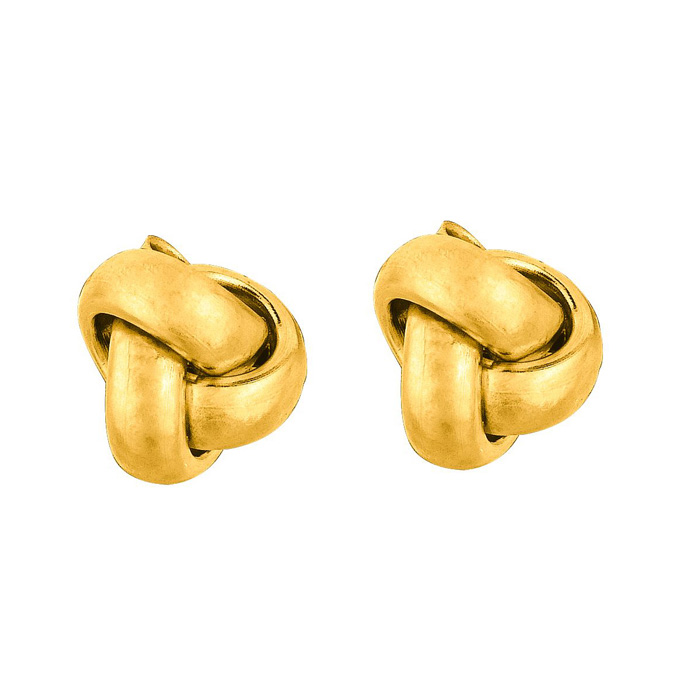 14K Yellow Gold (0.7 g) Polish Finished 7mm Love Knot Stud Earrin