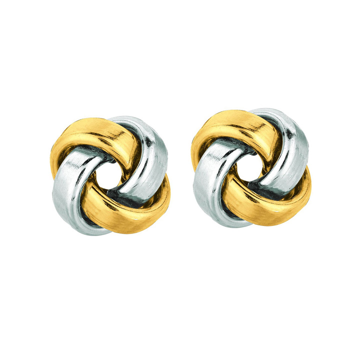 14K Two-Tone Yellow & White Gold (2.3 g) Polish Finished 9mm Love Knot Stud Earrings w/ Friction Backs by SuperJeweler