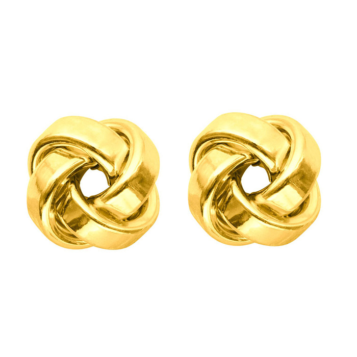 14K Yellow Gold (1.6 g) Polish Finished 9mm Love Knot Stud Earrin