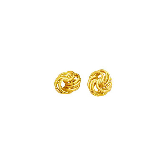 14K Yellow Gold (1.6 g) Polish Finished 9mm Textured Love Knot Stud Earrings w/ Friction Backs by SuperJeweler