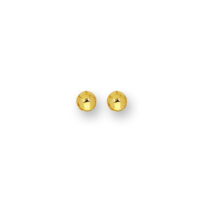14K Yellow Gold Polish Finished 7mm Ball Stud Earrings w/ Friction Backs by SuperJeweler