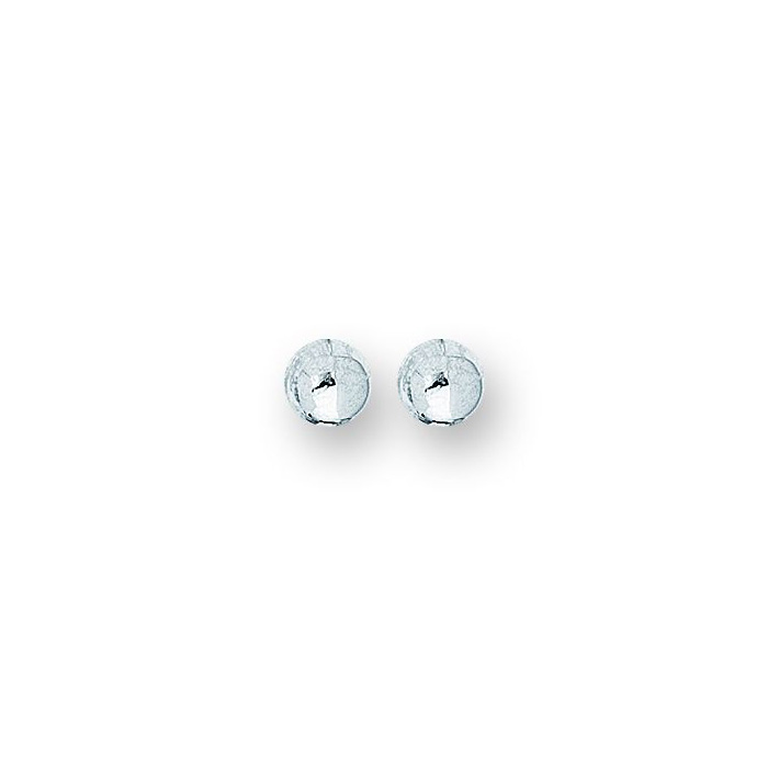 14K White Gold Polish Finished 10mm Ball Stud Earrings w/ Frictio