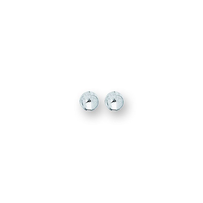 14K White Gold Polish Finished 6mm Ball Stud Earrings w/ Friction