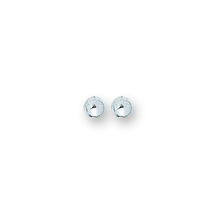 14K White Gold Polish Finished 7mm Ball Stud Earrings w/ Friction