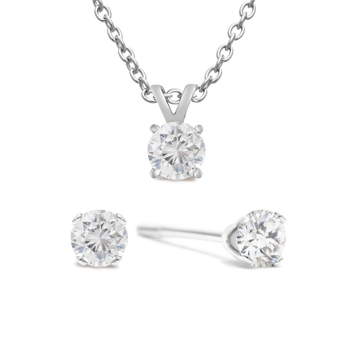 1/4 Carat Diamond Stud Earrings in White Gold w/ Free Matching Pendant, K/L by SuperJeweler