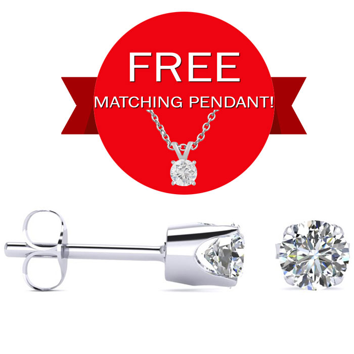1/3 Carat Diamond Stud Earrings in 10k White Gold w/ Free Matchin
