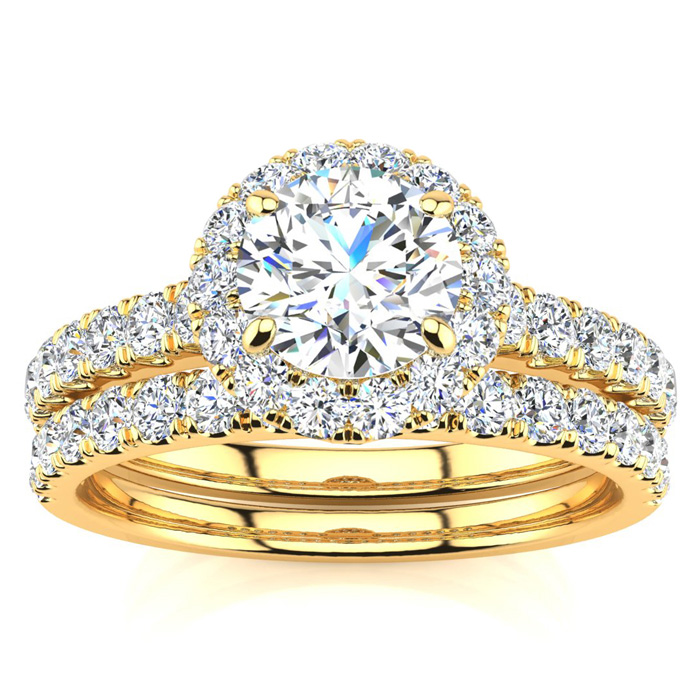1 1/2 Carat Pave Halo Diamond Bridal Set in 14k Yellow Gold