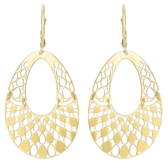 14K Yellow Gold (3 g) Polish Finished Swinging Teardrop Dangle Ea