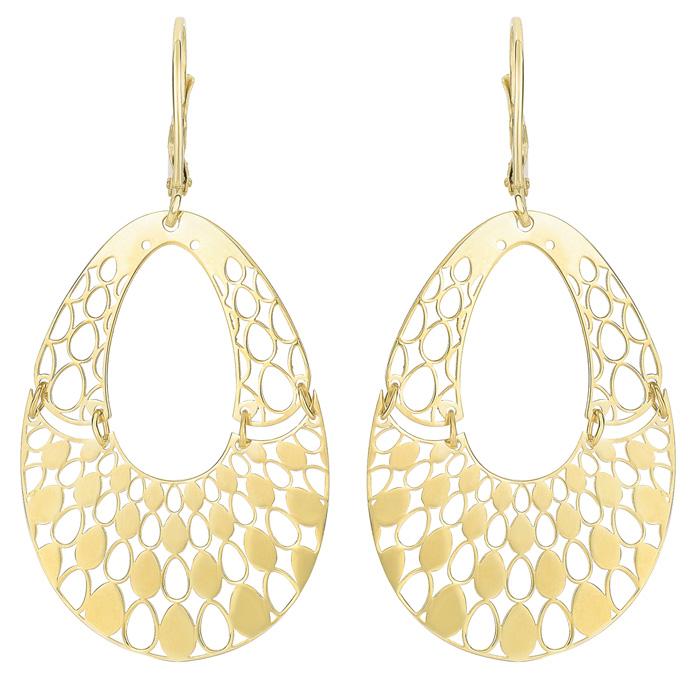 14K Yellow Gold (3 g) Polish Finished Swinging Teardrop Dangle Earring w/ Fishhook Backs, 1.5 Inches by SuperJeweler