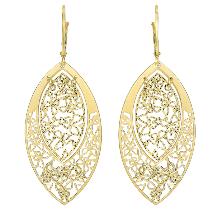 14K Yellow Gold (3.6 g) Polish Finished Butterfly Marquise Dangle Earrings w/ Fishhook Backs, 1.5 Inches by SuperJeweler