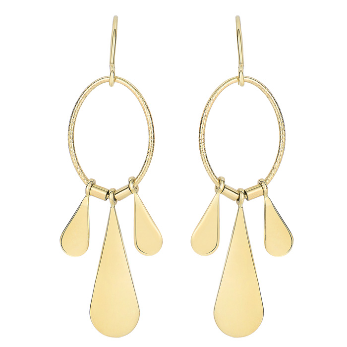 14K Yellow Gold (1.7 g) Polish Finished Triple Teardrop Dangle Ea