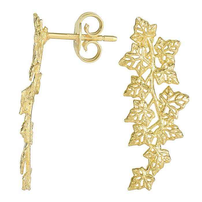 14K Yellow Gold (2.2 g) 25x11mm Leaf Ear Climbers w/ Friction Bac