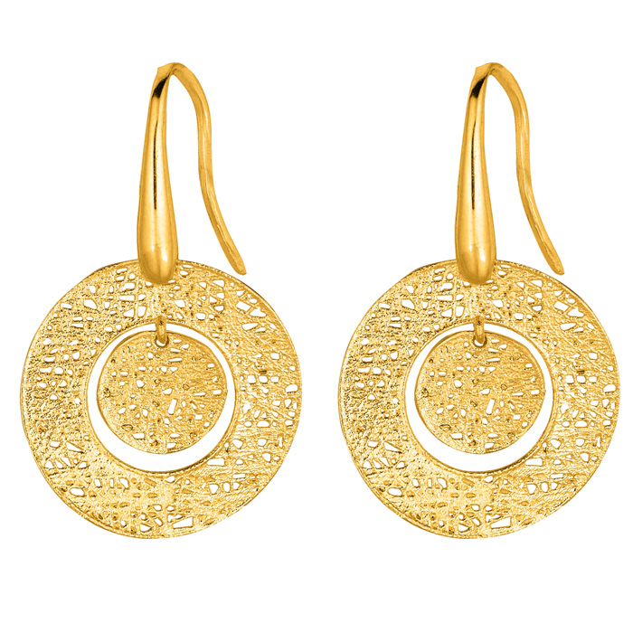 14K Yellow Gold (2.1 g) 17x17mm Mesh Bulls Eye Earrings w/ Fishho