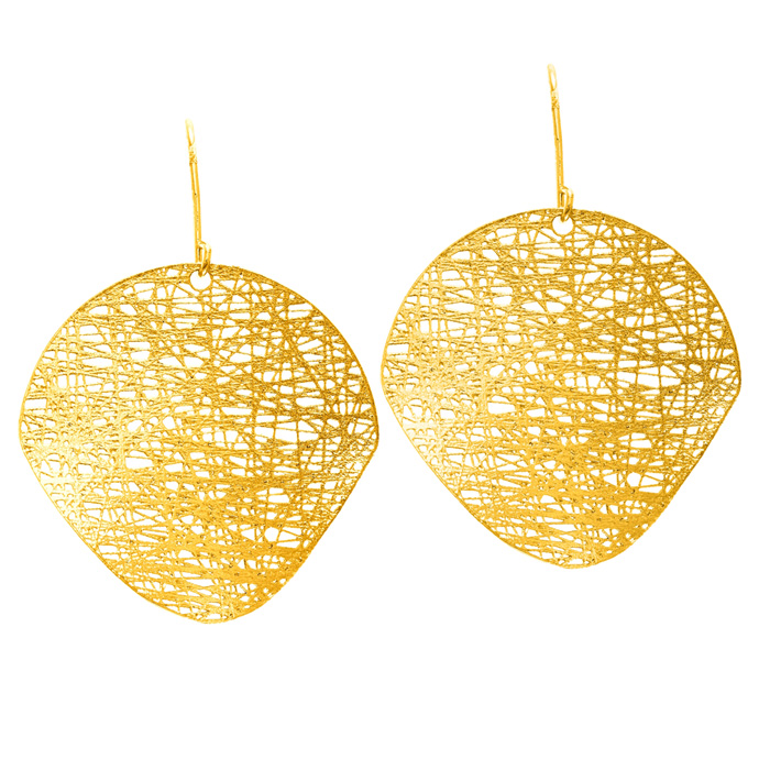14K Yellow Gold (3.5 g) 25x25mm Mesh Disc Earrings w/ Fishhook Ba