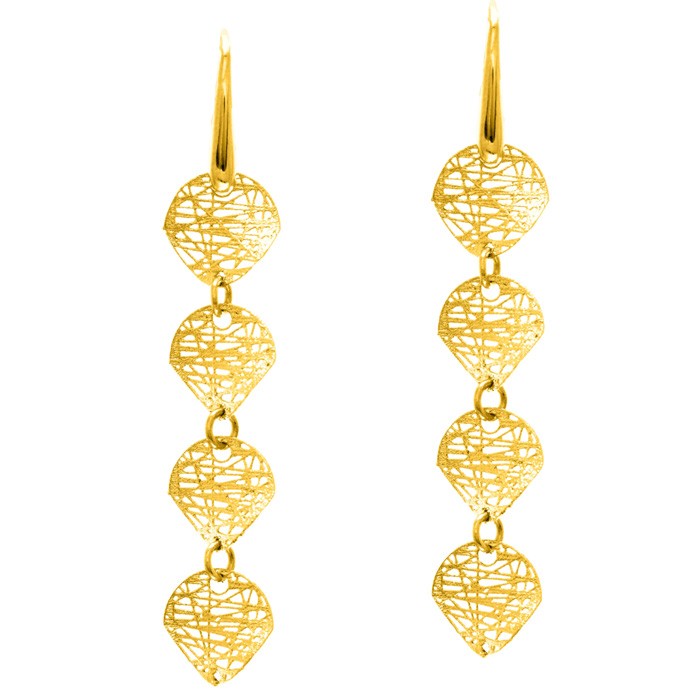 14K Yellow Gold (2.3 g) Circle Mesh Drop Earrings w/ Fishhook Bac