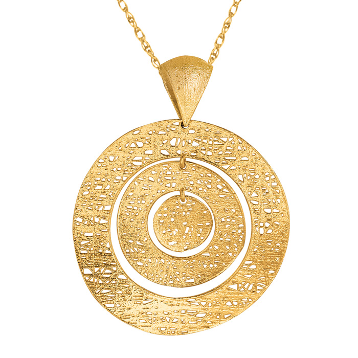 14K Yellow Gold (3.7 g) 35mm Mesh Bulls Eye Necklace, 18 Inches b