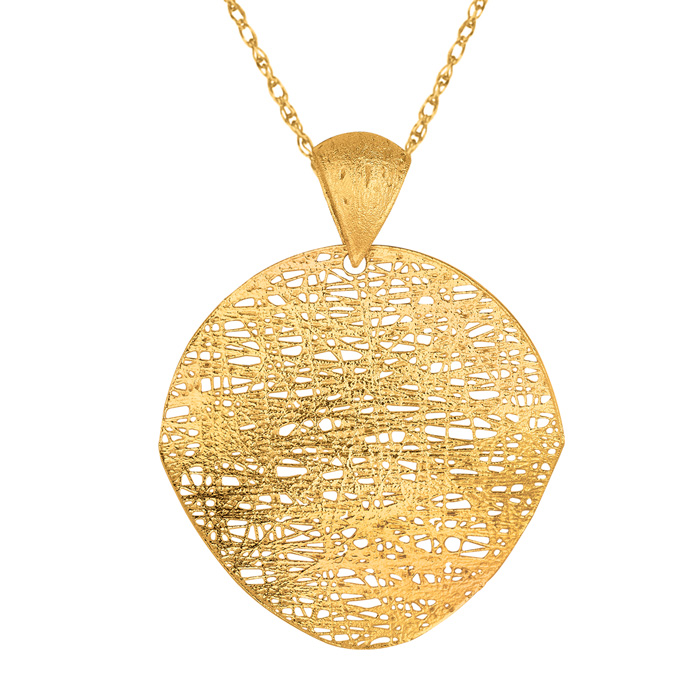14K Yellow Gold (3.7 g) 35mm Mesh Disc Necklace, 18 Inches by Sup