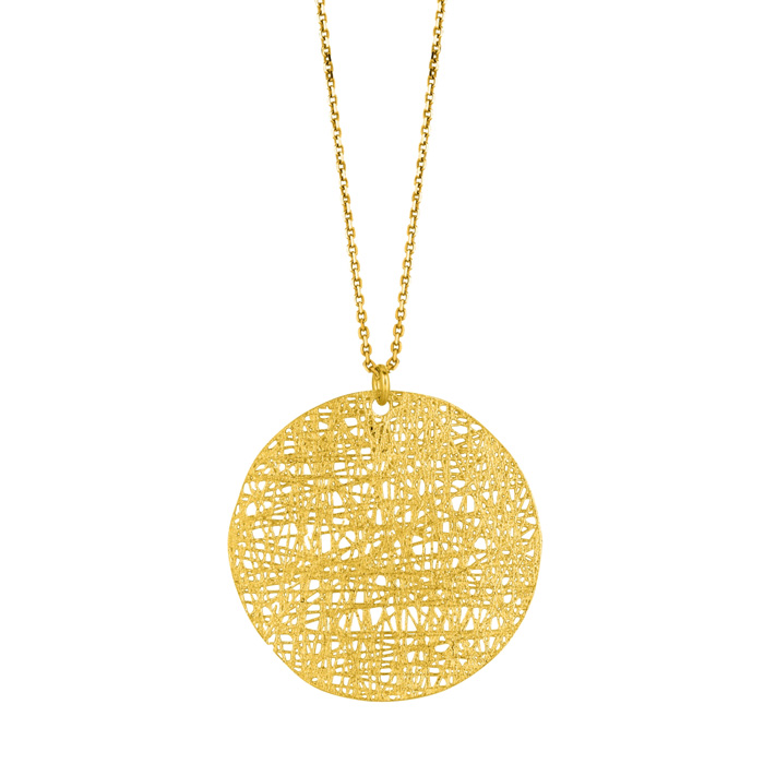 14K Yellow Gold (3.9 g) 30mm Circle Mesh Necklace, 18 Inches by S