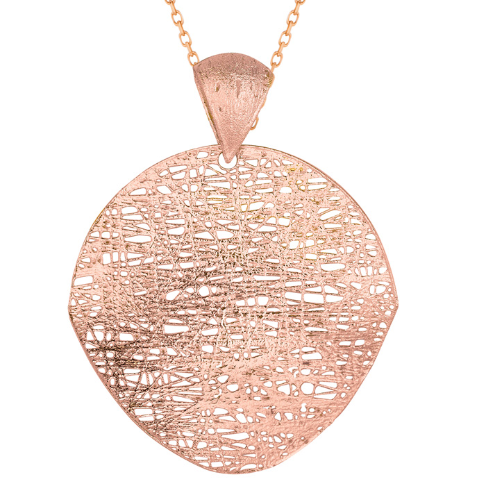 14K Rose Gold (3.7 g) 35mm Mesh Disc Necklace, 18 Inches by Super