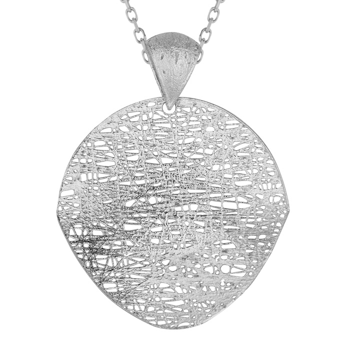 14K White Gold (3.5 g) 35mm Mesh Disc Necklace, 18 Inches by Supe