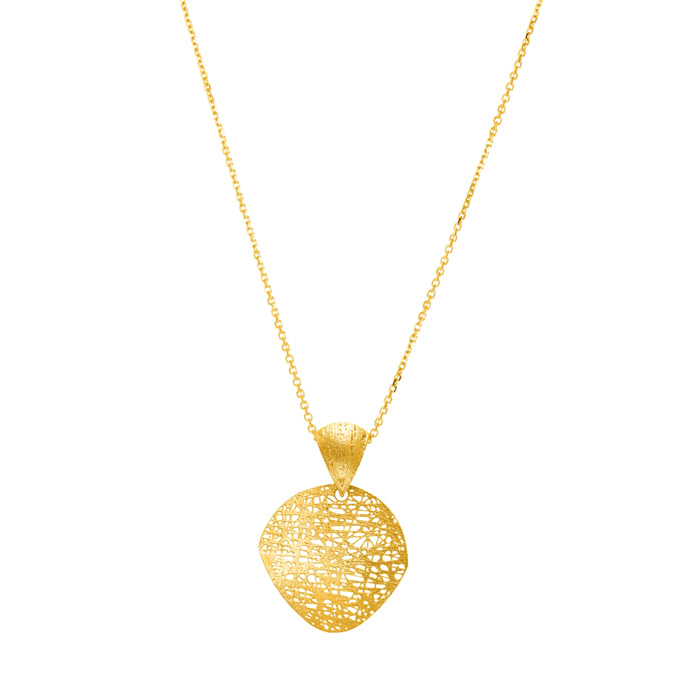 14K Yellow Gold (2.8 g) 17mm Mesh Disc Necklace, 18 Inches by Sup