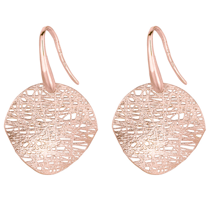 14K Rose Gold (2.4 g) 17x17mm Mesh Disc Earrings w/ Fishhook Back