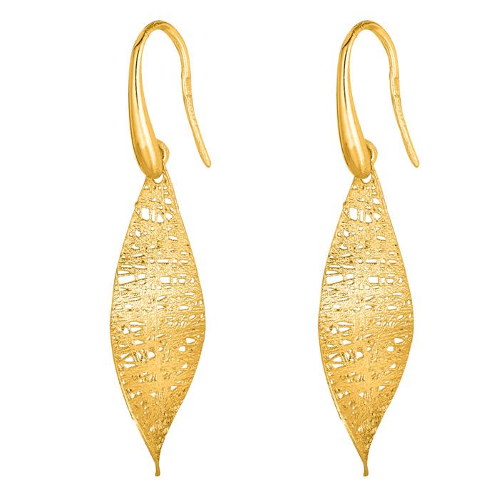 14K Yellow Gold (2 g) 25x10mm Mesh leaf Earrings w/ Fishhook Backs by SuperJeweler