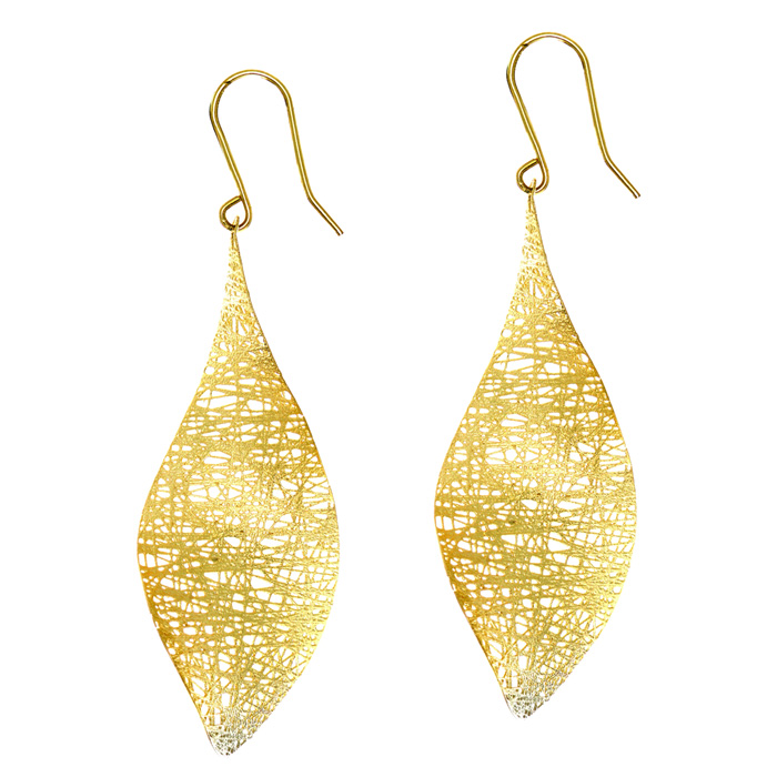 14K Yellow Gold (3.4 g) 38x25mm Mesh leaf Earrings w/ Fishhook Backs by SuperJeweler