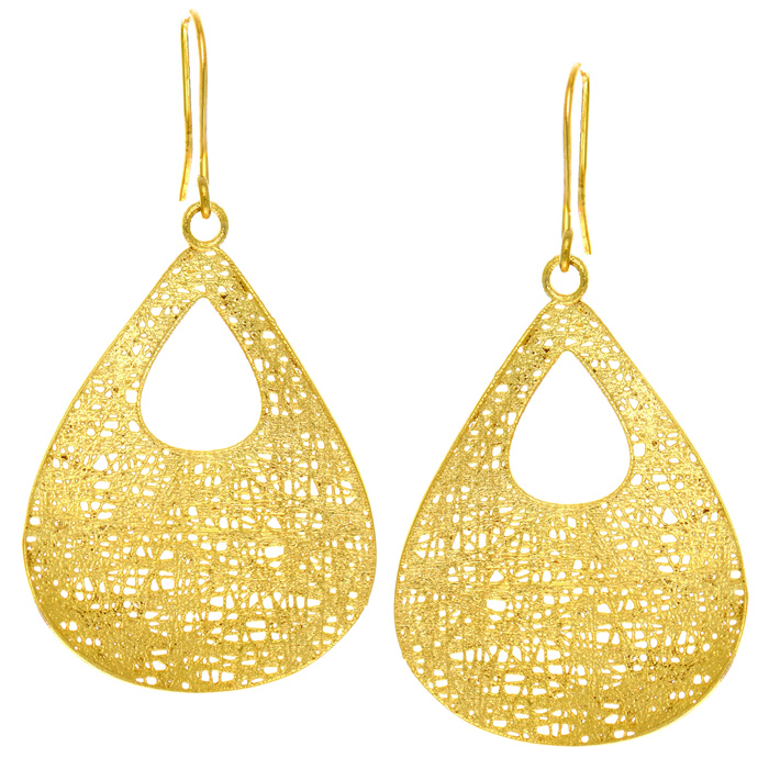 14K Yellow Gold (2.8 g) Hollow Pear Shaped 38x25mm Mesh Drop Earr