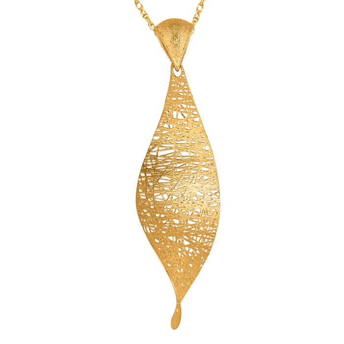14K Yellow Gold (3.6 g) 38x25mm Mesh Leaf Necklace, 18 Inches by