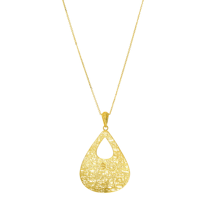 14K Yellow Gold (3.8 g) 38x25mm Hollow Pear Shaped Necklace, 18 I