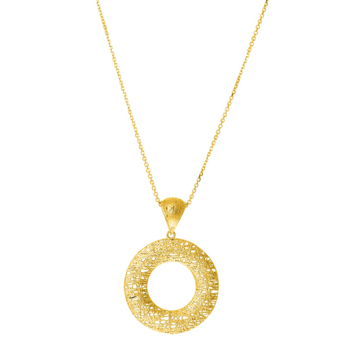 14K Yellow Gold (5.7 g) 25x25mm Hollow Birds Nest Necklace, 18 In