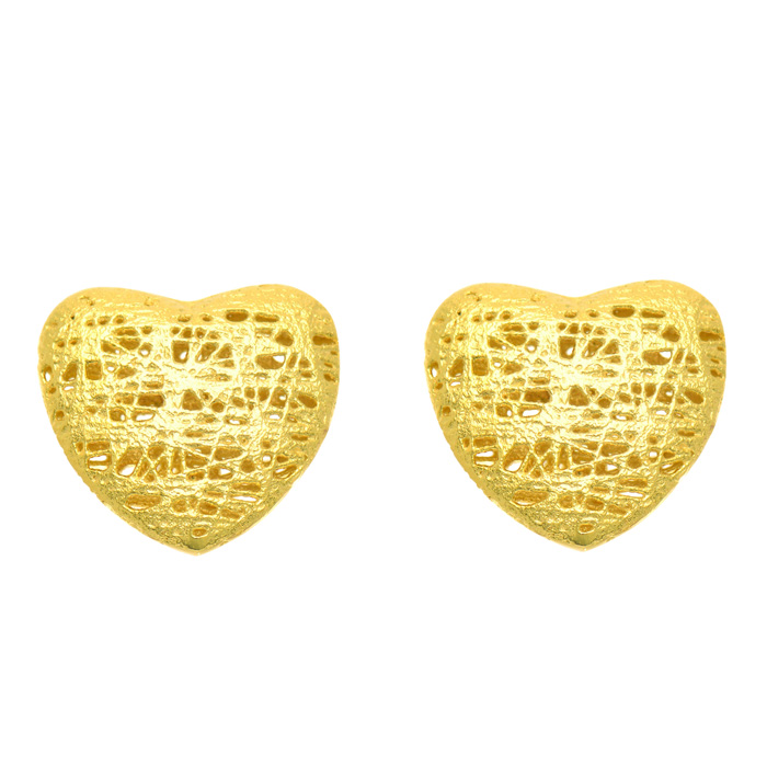 14K Yellow Gold (1.8 g) 12x12mm Mesh Heart Shaped Stud Earrings w