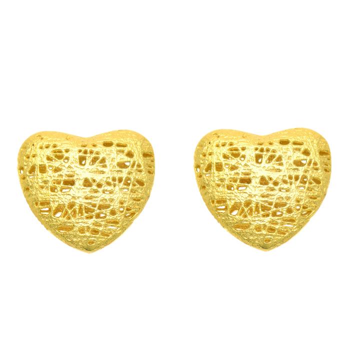 14K Yellow Gold (1.8 g) 12x12mm Mesh Heart Shaped Stud Earrings w/ Friction Backs by SuperJeweler