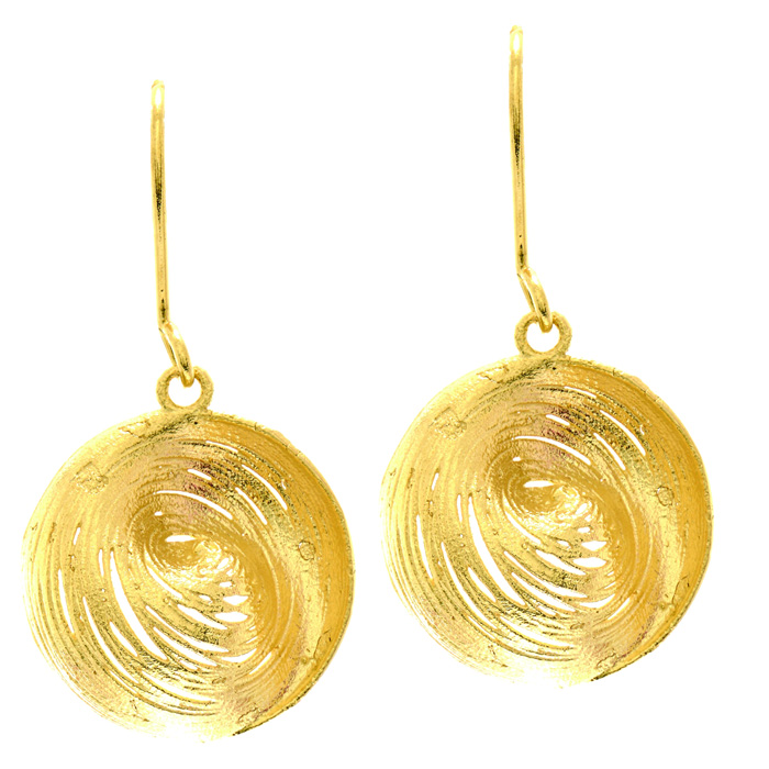 14K Yellow Gold (2.4 g) 25x25mm Circular Drop Earrings w/ Fishhoo