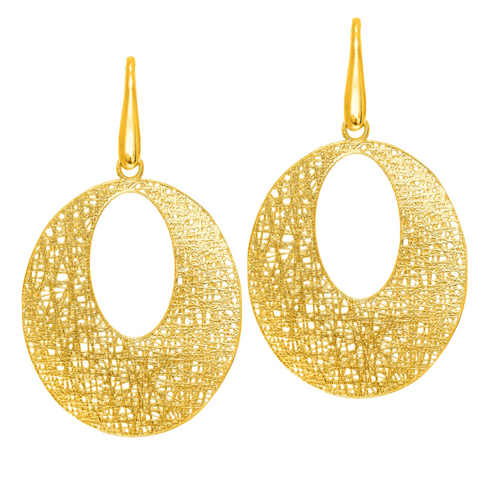 14K Yellow Gold (3.5 g) 24x24mm Textured Dangle Earrings w/ Fishh