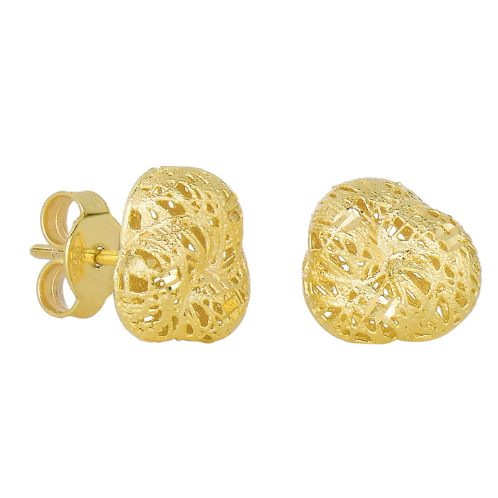 14K Yellow Gold (1.6 g) 12x12mm Mesh Stud Earrings w/ Friction Backs by SuperJeweler