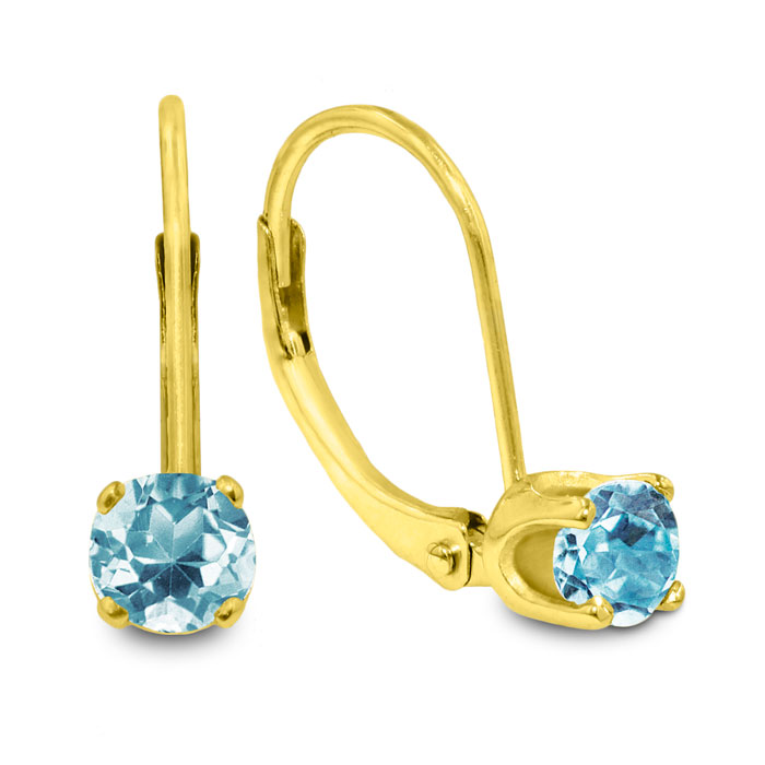 1/2 Carat Solitaire Aquamarine Leverback Earrings, 14k Yellow Gol