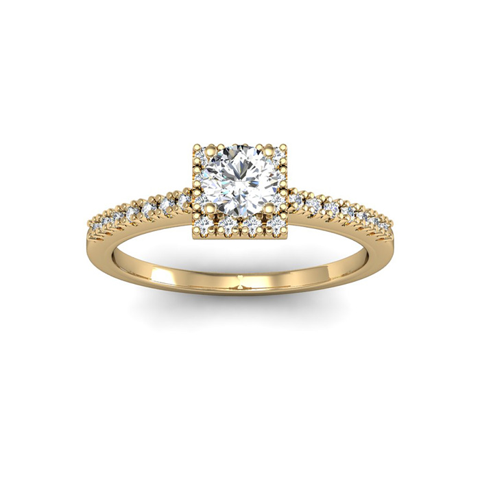 1/2 Carat Square Halo w/ Round Brilliant Solitaire Diamond Engage