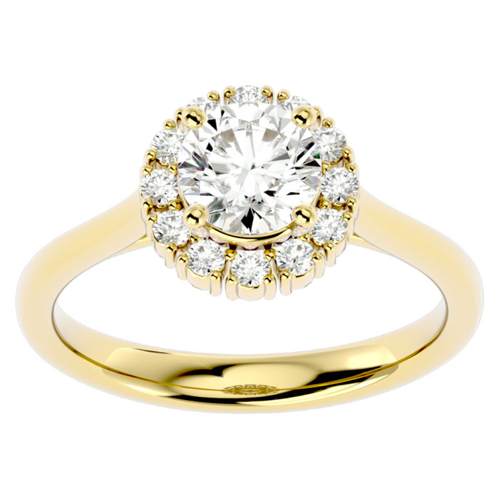 1.50 Carat Elegant Diamond Halo Engagement Ring in 14k Yellow Gold (5 g) (I-J, I1-I2 Clarity Enhanced) by SuperJeweler