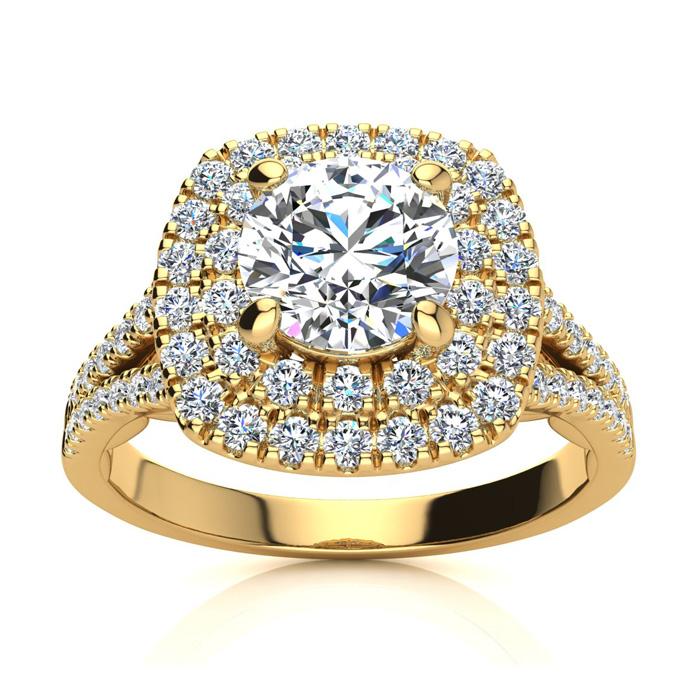 1.50 Carat Huge Looking Double Designer Diamond Halo Engagement R